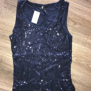 NWT navy sequins tank top